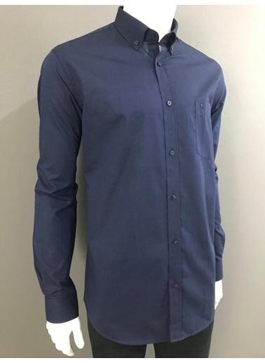 Abbate Düğmelı Yaka Armürlü Regularfıt Ceplı Gömlek Lacivert